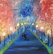 """""""A Walk"""" 12""""x12"""" acrylic painting on canvas. SOLD-in private collection."""