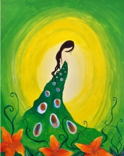"""Earth Goddess"" 18""x24"" acrylic painting on canvas by Marjorie Henderson. SOLD-in private collection."