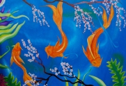 """""""Koi"""" 36""""x48"""" acrylic painting on canvas. SOLD-in private collection."""