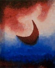 """Maroon Moon"" 16""x20"" acrylic painting on canvas by Marjorie Henderson. SOLD-in private collection."