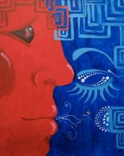 """RedMan"" 16""x20"" acrylic painting on canvas. NFS."