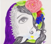 """""""Troubled"""" 10""""x12"""" mixed media drawing by Marjorie Henderson. $75"""