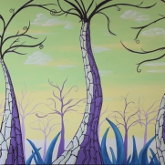 """Violet Trio"" 36""x48"" acrylic painting on canvas by Marjorie Henderson. $450"