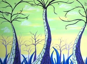 Citrus Sunrise-Acrylic painting on canvas, 30