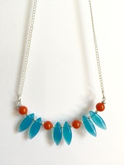 Turquoise and orange glass beaded necklace by Marjorie Henderson