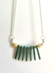Simple bronze and glass beaded necklace by Marjorie Henderson.
