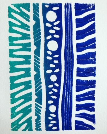 Blues linocut print by Marjorie Henderson