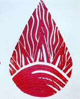 Fire Sun linocut print by Marjorie Henderson
