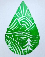 Green Morning linocut print by Marjorie Henderson